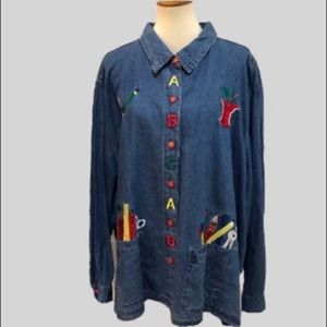 Vintage Tanzara Denim Teacher Button Down Shirt